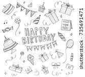 happy birthday handdrawn...   Shutterstock .eps vector #735691471