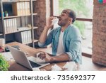 young ill afro student is...   Shutterstock . vector #735692377