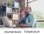 early morning in the office.... | Shutterstock . vector #735692419