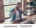 young frustrated afro american... | Shutterstock . vector #735692497