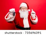 funny aged grandfather in red... | Shutterstock . vector #735696391
