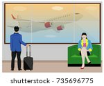 one man with luggage and lady...   Shutterstock .eps vector #735696775