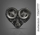 concept mechanical heart v8 ... | Shutterstock . vector #735697777