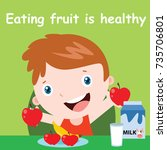 eating habit for children... | Shutterstock .eps vector #735706801