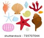 sea shells marine cartoon clam... | Shutterstock .eps vector #735707044