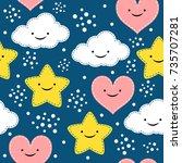 children s seamless pattern... | Shutterstock .eps vector #735707281