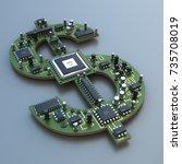 3d illustration of computer... | Shutterstock . vector #735708019
