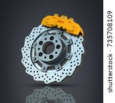 brake disk with perforation and ... | Shutterstock . vector #735708109