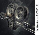 concept mechanical heart v8 on... | Shutterstock . vector #735708121