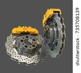 brake disk with perforation and ... | Shutterstock . vector #735708139