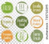 vector organic labels  bio... | Shutterstock .eps vector #735710395