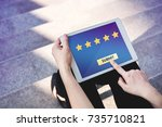 customer experience concept ... | Shutterstock . vector #735710821