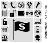 set of 17 business symbols of... | Shutterstock .eps vector #735713701