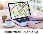 gps map to route destination... | Shutterstock . vector #735715765