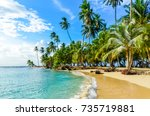 beautiful lonely beach in... | Shutterstock . vector #735719881