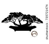 bonsai tree. black silhouette...   Shutterstock .eps vector #735721474