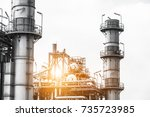 close up industrial zone. plant ... | Shutterstock . vector #735723985