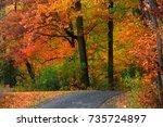 scenic trail in michigan in...   Shutterstock . vector #735724897