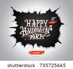 happy halloween party banner.... | Shutterstock .eps vector #735725665