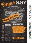 burger chalkboard poster for... | Shutterstock .eps vector #735727651