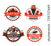 sushi  japanese food badge set. ... | Shutterstock .eps vector #735727669