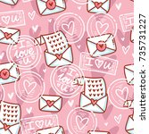 cute seamless love pattern with ... | Shutterstock .eps vector #735731227