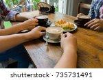 latte coffee art and people... | Shutterstock . vector #735731491