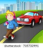 vector illustration of boy... | Shutterstock .eps vector #735732991