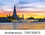 chao phraya river cruise boat... | Shutterstock . vector #735735871