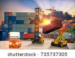 forklift handling container box ... | Shutterstock . vector #735737305