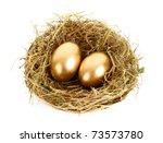 Three Golden Hen\'s Eggs In The...