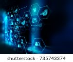 fintech icon  on abstract... | Shutterstock . vector #735743374