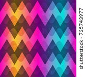 rainbow color zigzag seamless... | Shutterstock .eps vector #735743977