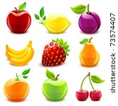 glossy fruit set | Shutterstock .eps vector #73574407
