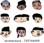 vector illustration set of... | Shutterstock .eps vector #735744409