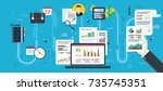 report with investment data and ... | Shutterstock .eps vector #735745351