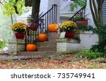 seasonal house outdoor... | Shutterstock . vector #735749941