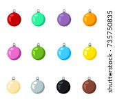 vector set of christmas... | Shutterstock .eps vector #735750835