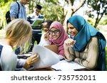 diverse children studying... | Shutterstock . vector #735752011