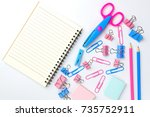 stationary concept  flat lay... | Shutterstock . vector #735752911