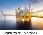 large offshore oil rig drilling ... | Shutterstock . vector #735756547