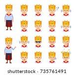 set of medieval prince...   Shutterstock .eps vector #735761491