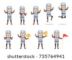 set of medieval knight... | Shutterstock .eps vector #735764941