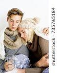 couple having flu | Shutterstock . vector #735765184