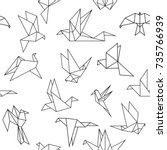 Stock vector vector seamless pattern with origami paper birds polygonal seamless pattern with birds pattern 735766939