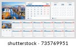 calendar 2018 week start on... | Shutterstock .eps vector #735769951