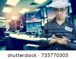 double exposure of  engineer or ... | Shutterstock . vector #735770305