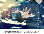 double exposure of engineer or... | Shutterstock . vector #735770314