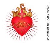 sacred heart of jesus with rays.... | Shutterstock .eps vector #735770434