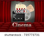 movie theater with row of red... | Shutterstock .eps vector #735773731
